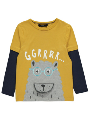 Mustard Bear Slogan Long Sleeve Top