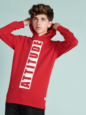 Red Attitude Slogan Hoodie
