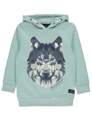 Pale Blue Geometric Wolf Hoodie