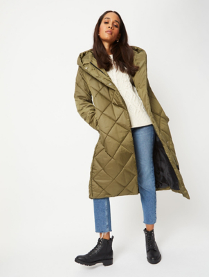Green Diamond Quilted Longline Padded Coat