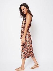 59a053fc1d46b Chocolate Snakeskin Print Lace Trim Slip Dress