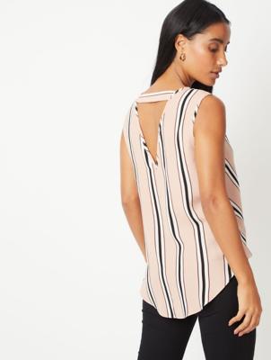 Pink Striped Wrap Style V-Neck Blouse