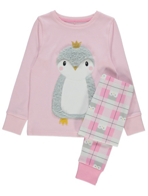 Pink Plush Long Sleeve Penguin Pyjamas