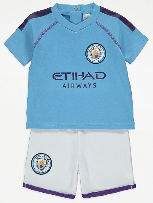 Official Manchester City Football Club T Shirt And Shorts Outfit Baby George At Asda