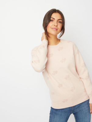 Pale Pink Glitter Heart Pattern Jumper