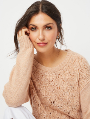 Peach Pointelle Knitted Jumper
