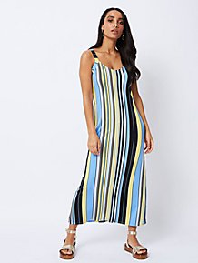 b358798330e Blue Stripe V-Neck Maxi Dress