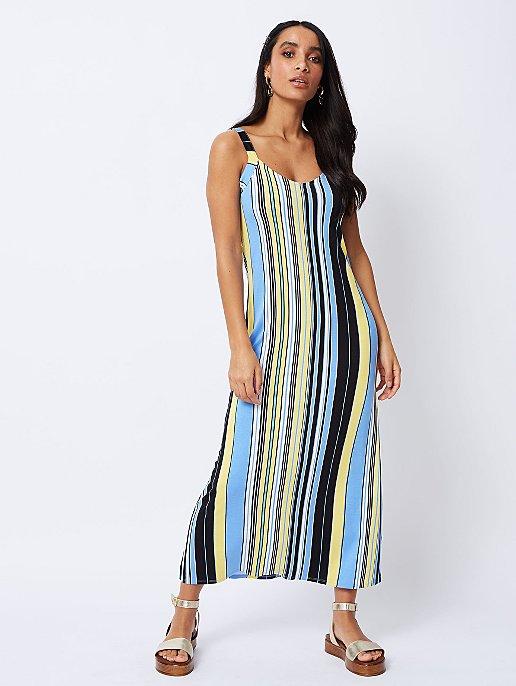 2f1624e416c Blue Stripe V-Neck Maxi Dress. Video