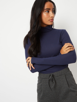 Navy Ribbed Roll Neck Top