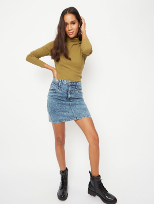 Sage Green Ribbed Roll Neck Top