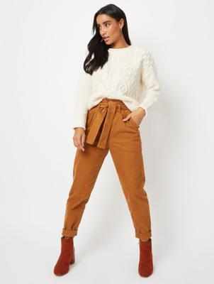 Tan Brown Tie Waist Straight Corduroy Jeans