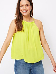 e21bc135d9655 Neon Lime Textured Trapeze Camisole Top