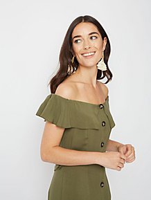 08300175486 Khaki Button Down Bardot Dress