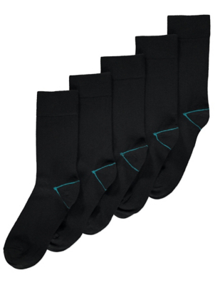 Black Thermal Lightweight Socks 5 Pack