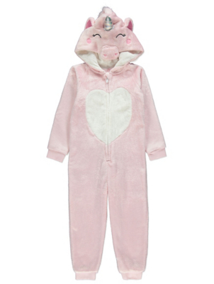 Pink Shimmering Flying Unicorn Hooded Onesie