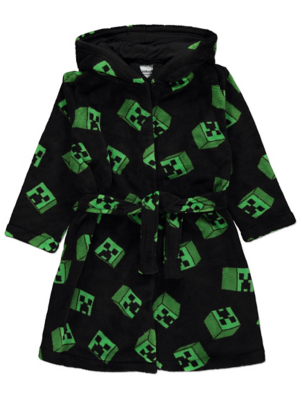 Minecraft Creeper Print Hooded Dressing Gown