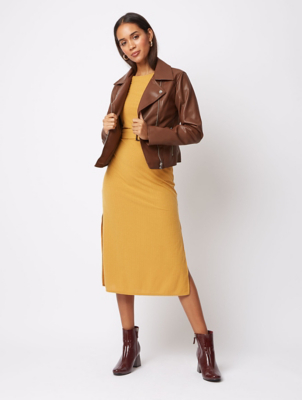 Chocolate Brown Faux Leather Biker Jacket