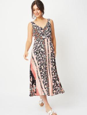 Floral Striped V-Neck Pleated Midi Dress