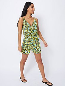 bb9bf482157 Yellow Floral Wrap Style Playsuit
