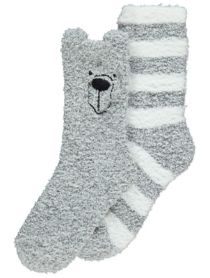 Grey Animal Face Cosy Socks 2 Pack