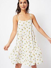 a1828a77b3 White Polka Dot Floral Print Tiered Midi Dress