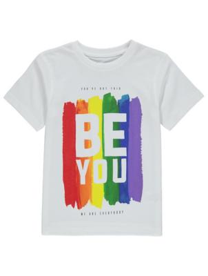 Pride Rainbow Glitter Print Slogan T-Shirt