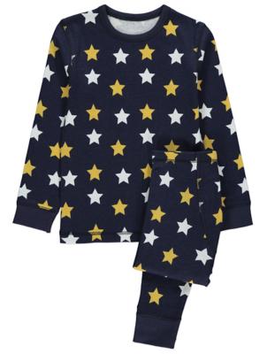 Navy Star Print Thermals