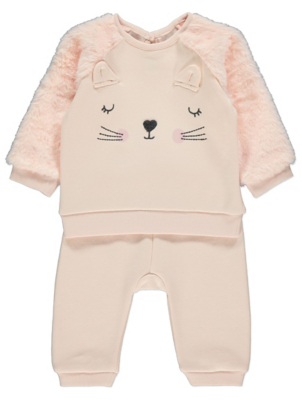 Peach Sleepy Cat Sweatshirt and Jogging Bottoms Outfit