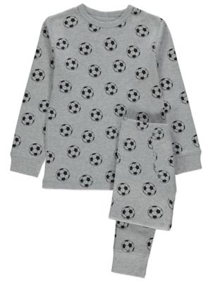 Grey Thermal Football Print Pyjamas