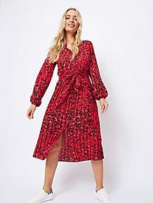 b6d93f6b88b Red Leopard Print Pleated Skirt Midi Dress