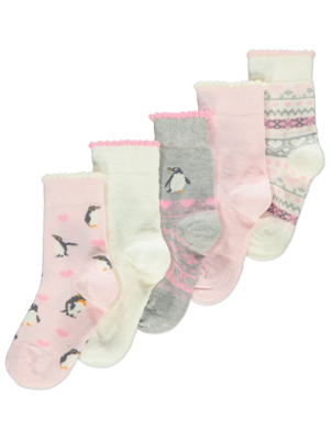 Pink Penguin Socks 5 Pack