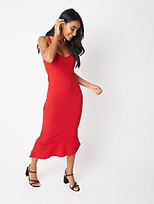 e2f0a5480779 Red Strappy Frill Sheath Midi Dress