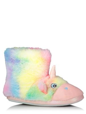 Pastel Rainbow Unicorn Slipper Boots