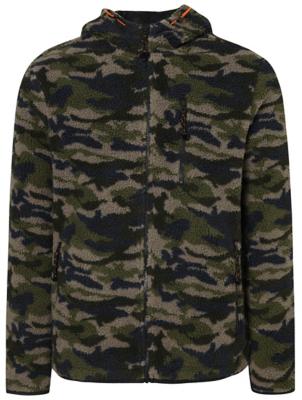 Khaki Camo Zip Up Borg Fleece