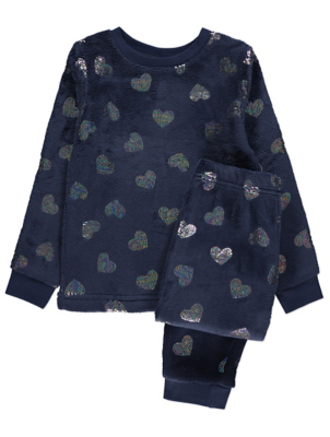 Navy Heart Print Fleece Pyjama Gift Set