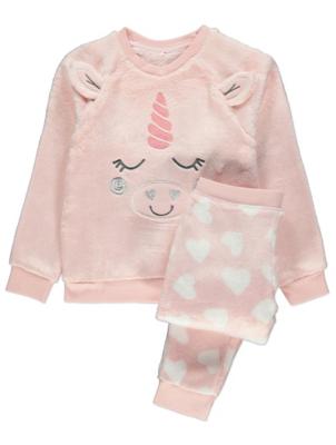 Pink Fleece Unicorn Pyjamas Gift Set