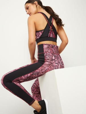 Pink Snake Print Padded Racer Back Sports Crop Top