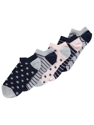 Pink Glitter Shoe Liner Socks 5 Pack