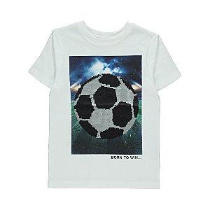 White Football Swipe Sequin Short Sleeve T-Shirt