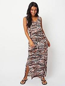7822030cf8a07 Pink Animal Print Tie Belt Maxi Dress