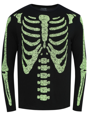 Halloween Glow in The Dark Skeleton Top