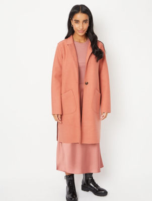 Salmon Pink Unlined Longline Oversized Coat
