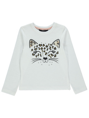 White Diamanté Leopard Long Sleeve Top