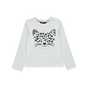 White Diamanté Leopard Long Sleeve Top