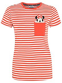 26414f1020e637 Disney Minnie Mouse Coral Striped T-Shirt