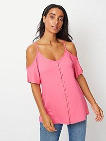b42bbf4b1fd Pink Crepe Button Through Cold Shoulder Top