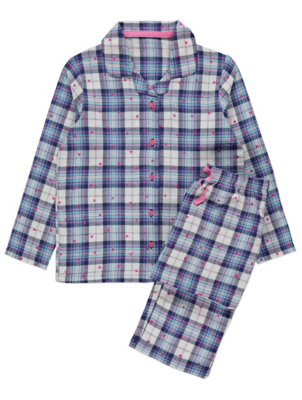 Purple Check Heart Print Collared Pyjamas Gift Set