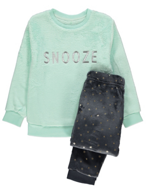 Mint Blue Slogan Fleece Pyjama Gift Set