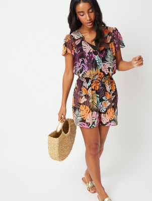 Black Tropical Print Ring Detail Playsuit Cover Up
