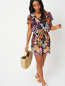 cf0d6c227930 Black Tropical Print Ring Detail Playsuit Cover Up